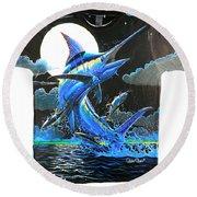 Marlin Moon Mens Shirt Round Beach Towel