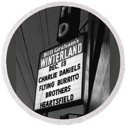 Marquee At Winterland In Late 1975 Round Beach Towel