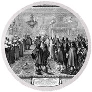 Marriage Contract, 1645 Round Beach Towel