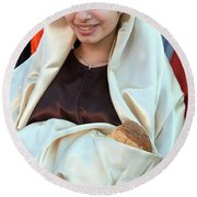 Mary And Baby Jesus At The Christmas March In Bethlehem Round Beach Towel