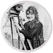 Mary Pickford (1893-1979). Born Gladys Mary Smith. American Actress, With A Movie Camera On A Beach, C1916 Round Beach Towel