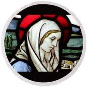 Mary Tears Round Beach Towel
