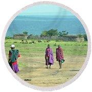 Masai Village Round Beach Towel