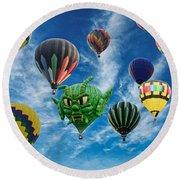 Mass Hot Air Balloon Launch Round Beach Towel