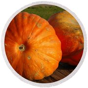 Mass Pumpkins Round Beach Towel