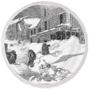 Massachusetts: Blizzard Round Beach Towel