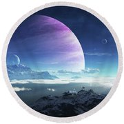 Massive Lei Gong Rises In The Distance Round Beach Towel