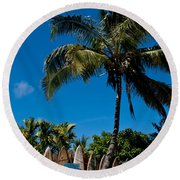 Maui Surfboard Fence - Oldest Section Round Beach Towel