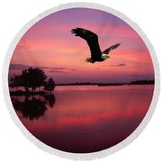 Mauve Sundown Eagle  Round Beach Towel