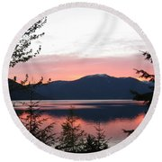 May Sunset On Kootenay Lake Round Beach Towel