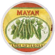 Mayan Peas Round Beach Towel