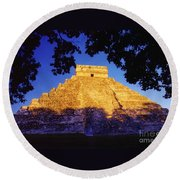 Mayan Pyramid Round Beach Towel