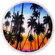 Mayaro Red Dawn Round Beach Towel