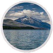 Mcdonald Lake Super Panorama Round Beach Towel