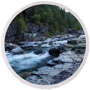 Mcdonald River Glacier National Park - 3 Round Beach Towel