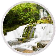 Mclean Falls In The Catlins Of South New Zealand Round Beach Towel