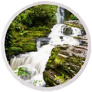 Mclean Falls In The Catlins Round Beach Towel