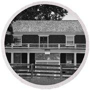 Mclean House Bw Appomattox Virgnia Round Beach Towel