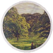Meadow Scene  Round Beach Towel by John William Buxton Knight
