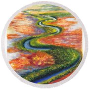 Meandering River In Northern Australian Channel Country Round Beach Towel