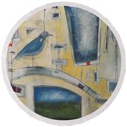 Mechanical Bird Round Beach Towel
