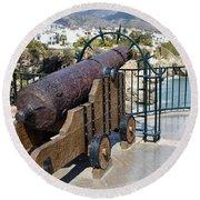 Medieval Cannon At The Balcon De Europa Round Beach Towel