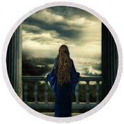 Medieval Lady Watching The Sea Round Beach Towel