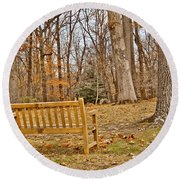 Meditation At Valley Forge Round Beach Towel