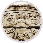 Medusa Of Ephesus Turkey Round Beach Towel