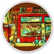 Meet Me At The Meat Market Round Beach Towel