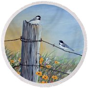 Meeting At The Old Fence Post Round Beach Towel