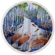 Meeting At The Slough Round Beach Towel