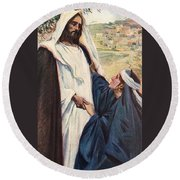 Meeting Of Jesus And Martha Round Beach Towel