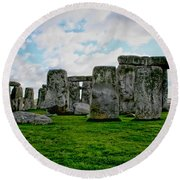 Megaliths Round Beach Towel