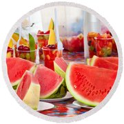Melons Round Beach Towel