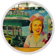 Mels Drive In Round Beach Towel by David Lee Thompson