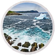 Melting Iceberg In Newfoundland Round Beach Towel