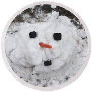 Melting Snowman Round Beach Towel
