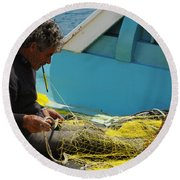 Mending His Nets Round Beach Towel
