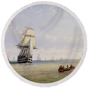 Meno War Schooners And Royal Navy Yachts Round Beach Towel