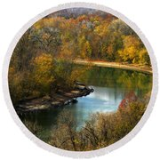 Meramec River Bend At Castlewood State Park Round Beach Towel