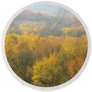 Meramec River Valley Autumn At Castlewood State Park In Missouri Round Beach Towel