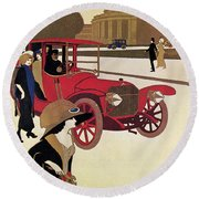 Mercedes Ad, C1914 Round Beach Towel