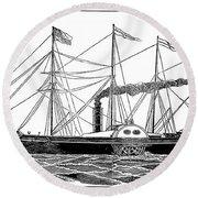 Merchant Steamship, 1838 Round Beach Towel