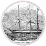 Merchant Steamship, 1844 Round Beach Towel
