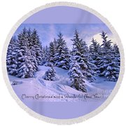 Merry Christmas And A Wonderful New Year Round Beach Towel