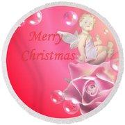 Merry Christmas Cherub And Rose Round Beach Towel