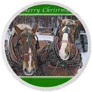 Merry Christmas Horses At Sawmill Round Beach Towel