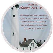 Merry Christmas Lighthouse Round Beach Towel