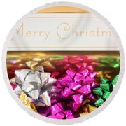 Merry Christmas Message With Colourful Bows Round Beach Towel